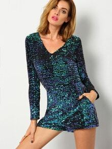Green Long Sleeve Deep V Neck Sequined Romper