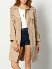 Khaki Lapel Pockets Trench Coat