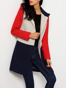 Navy Long Sleeve Pockets Color Block Coat