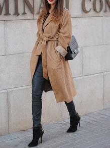 Brown Lapel Pockets Coat
