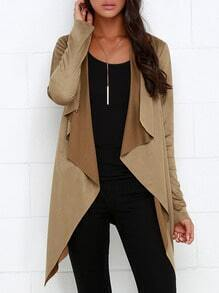 Camel Long Sleeve Asymmetric Coat