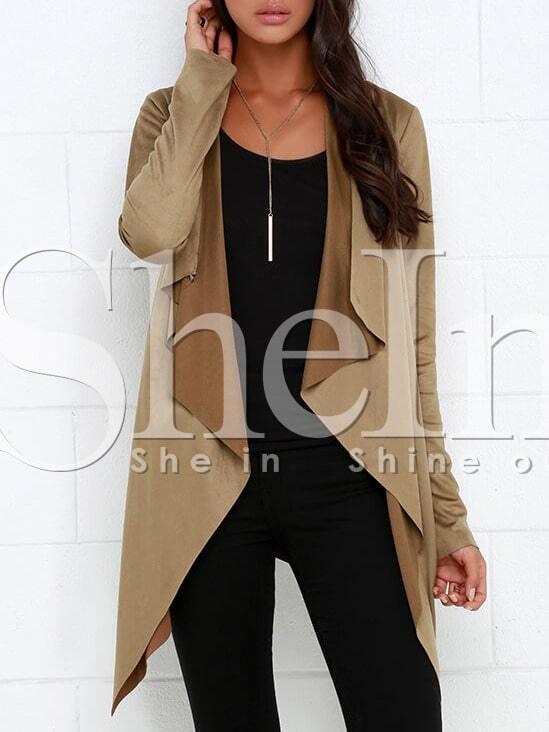 Camel Long Sleeve Asymmetric Coat
