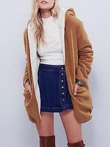 Brown Hooded Long Sleeve Pockets Coat