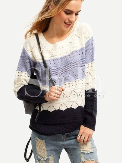 White Long Sleeve Color Block Sweater