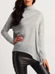 Grey Long Sleeve High Neck T-Shirt