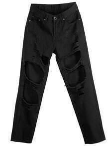 Black Ripped Loose Denim Pant