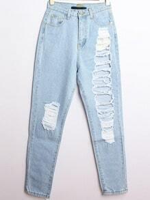 Light Blue Ripped Straight Denim Pant