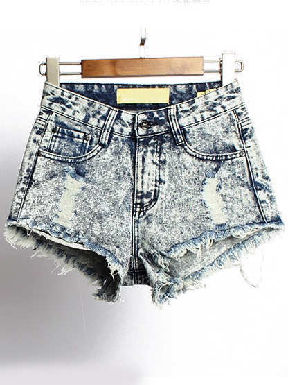 Blue High Waist Fringe Ripped Denim Shorts