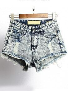 Blue High Waist Fringe Ripped Denim Shorts