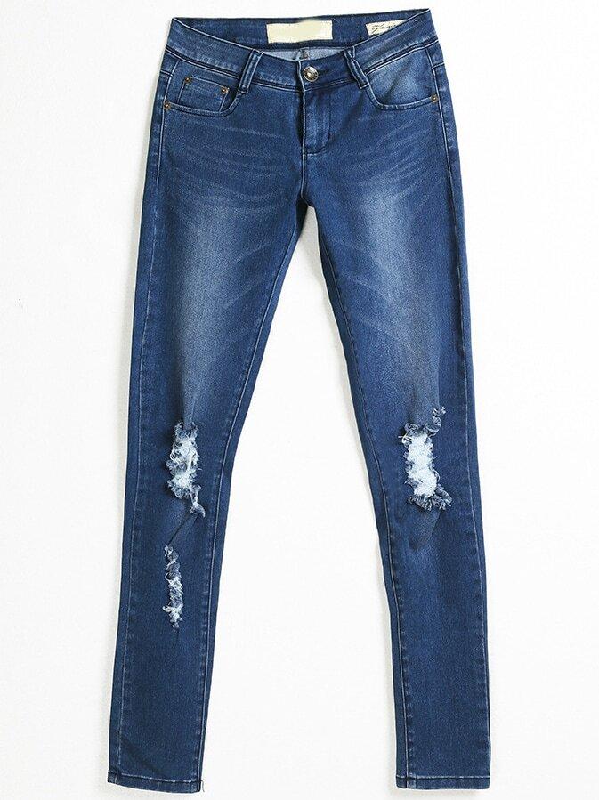 pantalon d chir blanchi bleu marine french shein sheinside. Black Bedroom Furniture Sets. Home Design Ideas