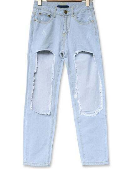 Blue Ripped Loose Boyfriend Denim Pant