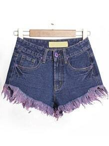 Navy High Waist Fringe Denim Shorts
