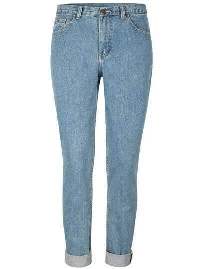 Blue Pockets Straight Denim Pant