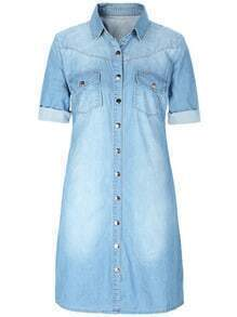 Blue Lapel Bleached Denim Shirt Dress