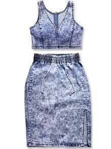 Blue V Neck Crop Denim Top With Split Skirt