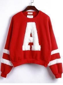 Red Round Neck Flocked A Pattern Sweatshirt