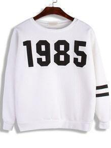 White Round Neck 1985 Print Loose Sweatshirt