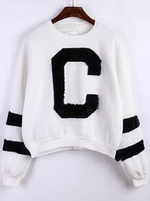White Round Neck Flocked C Pattern Sweatshirt