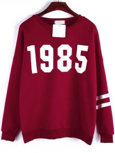 Wine Red Round Neck 1985 Print Loose Sweatshirt