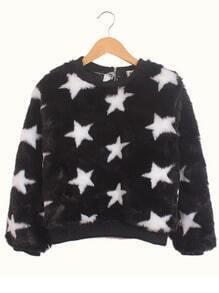 Black Round Neck Stars Print Faux Fur Sweatshirt
