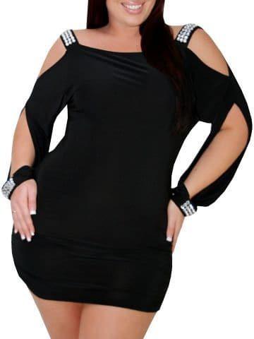 Black Cold Shoulder Split Sleeve Bodycon Plus Dress