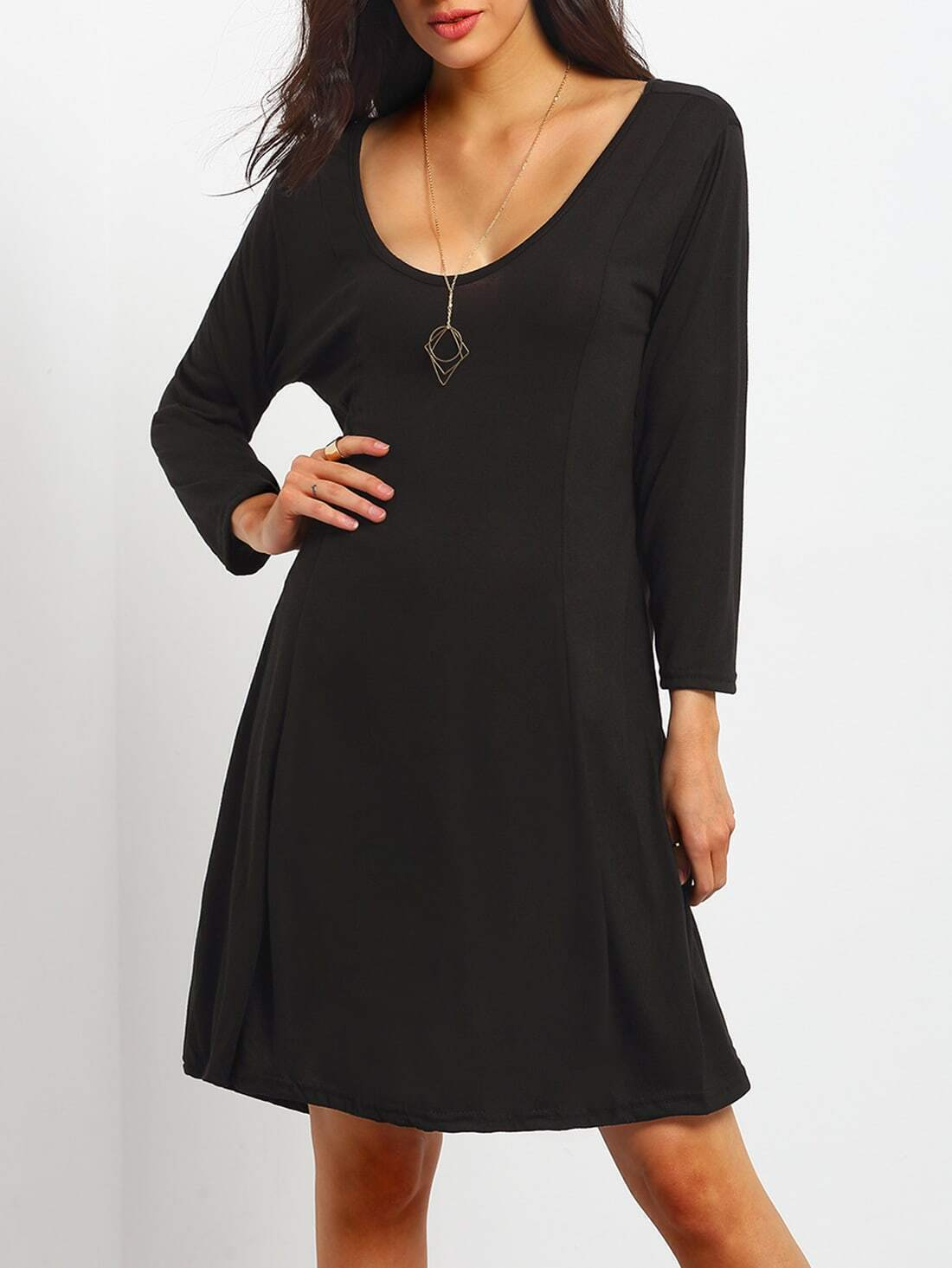 Black V Neck Loose Plus Dress