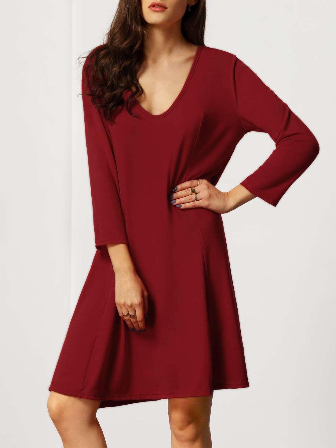Red V Neck Loose Plus Dress