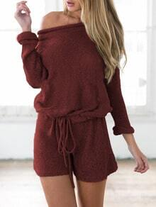 Wine Red Long Sleeve Lace Up Playsuit