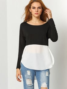 White Black Long Sleeve High Low T-Shirt