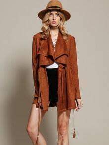 Brown Long Sleeve Lapel Coat