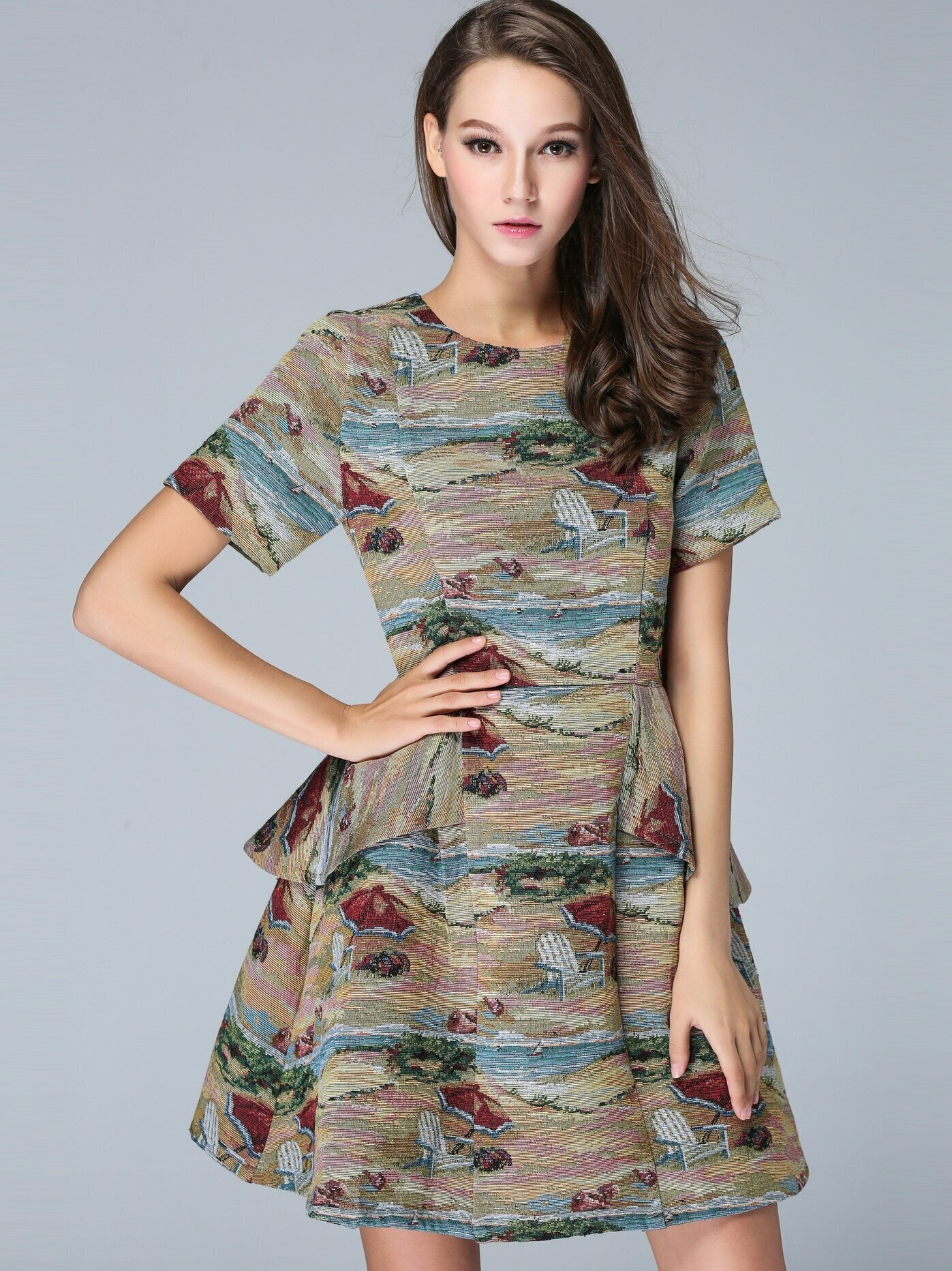 Multicolor Round Neck Short Sleeve Jacquard Dress