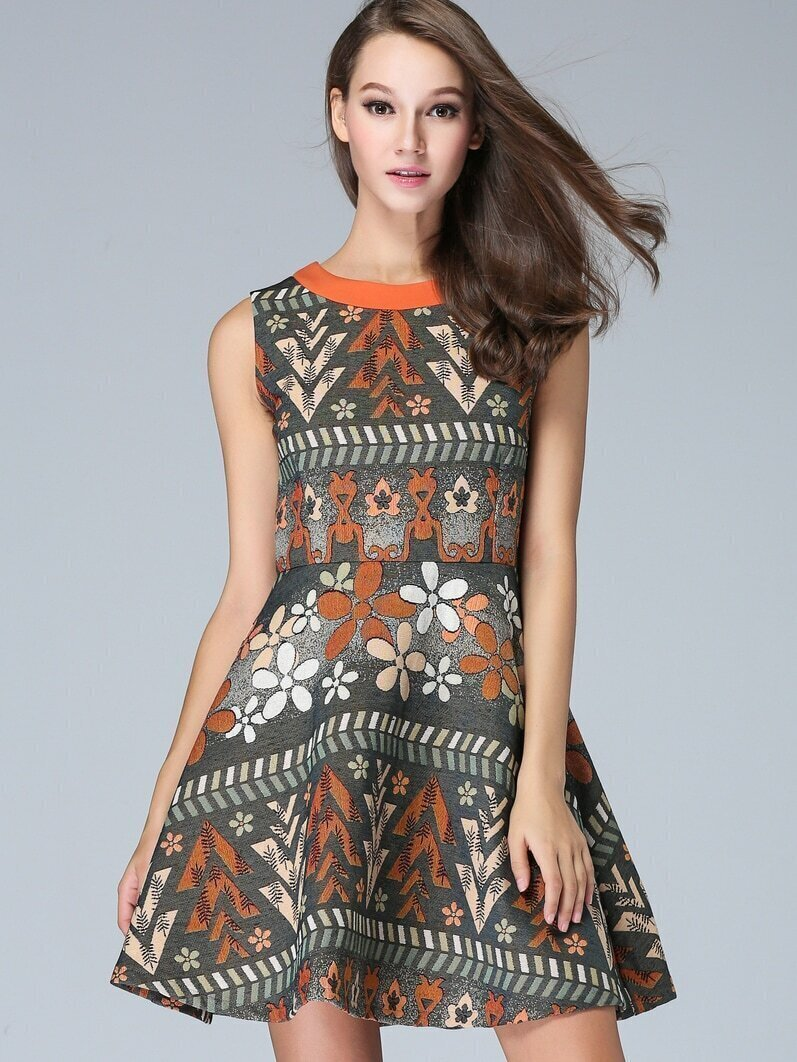Multicolor Round Neck Sleeveless Jacquard Dress