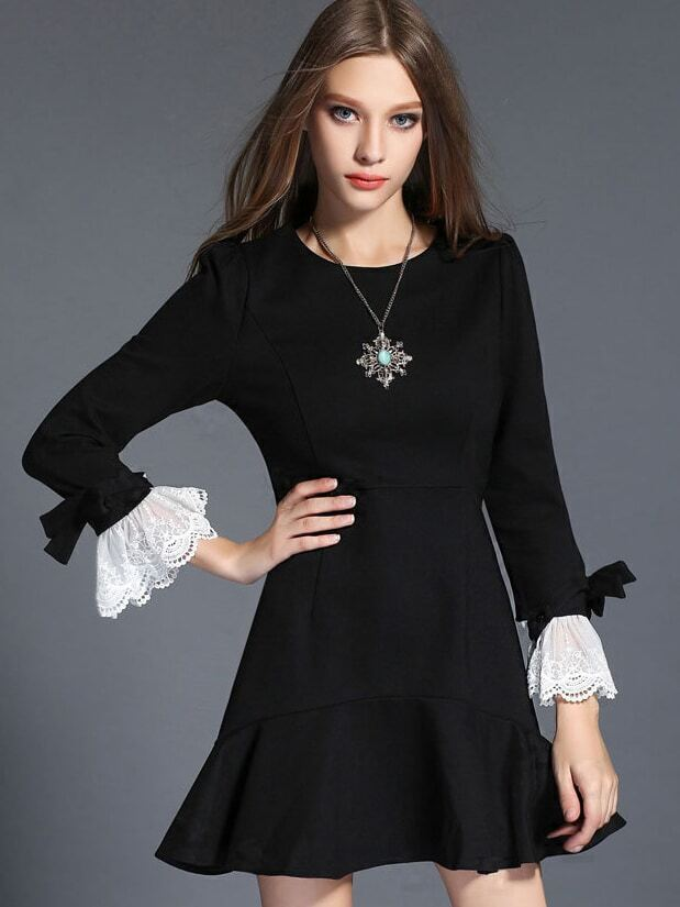 Black Round Neck Long Sleeve Fishtail Dress