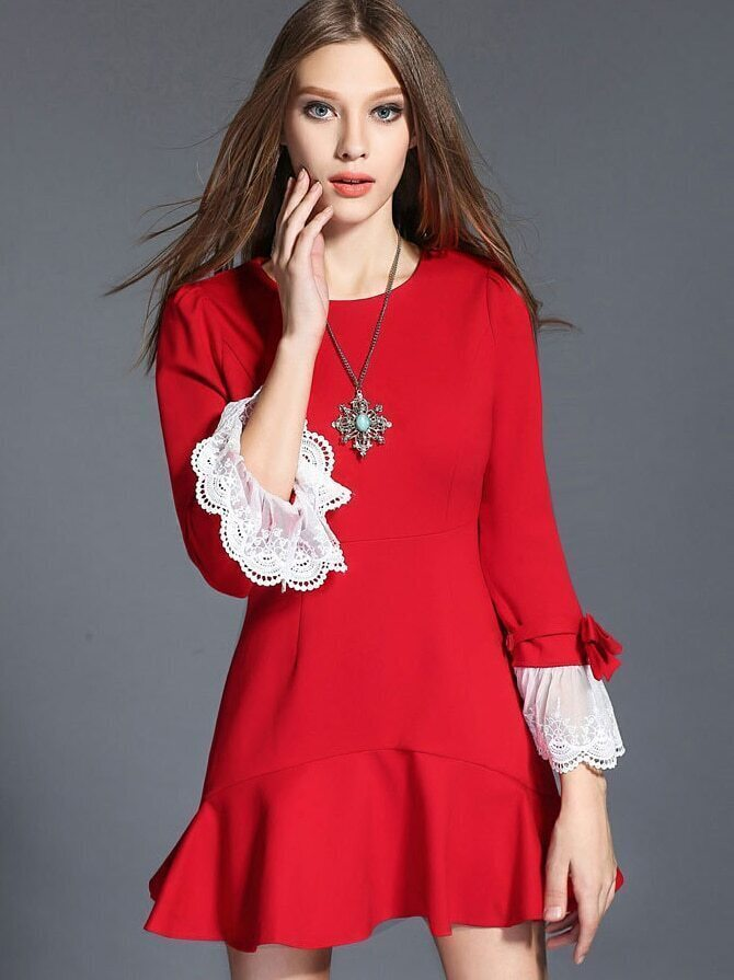 Red Round Neck Long Sleeve Fishtail Dress