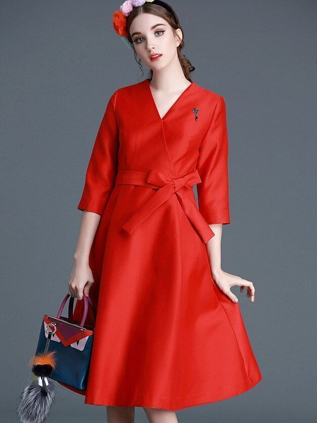 Red V Neck Length Sleeve Tie-Waist Dress