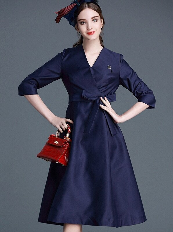 Navy V Neck Length Sleeve Tie-Waist Dress