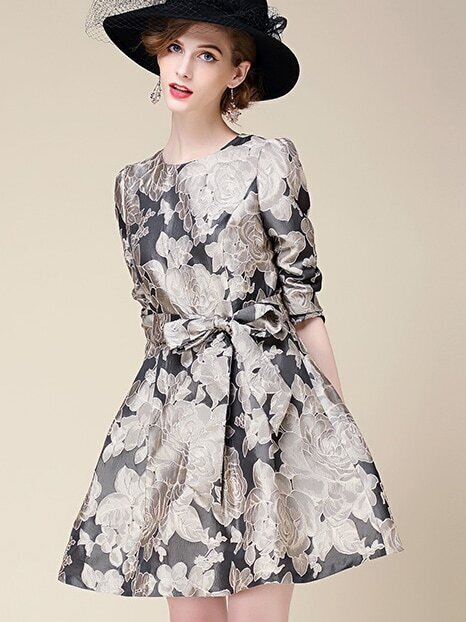 Multicolor Round Neck Length Sleeve Tie-Waist Print Dress
