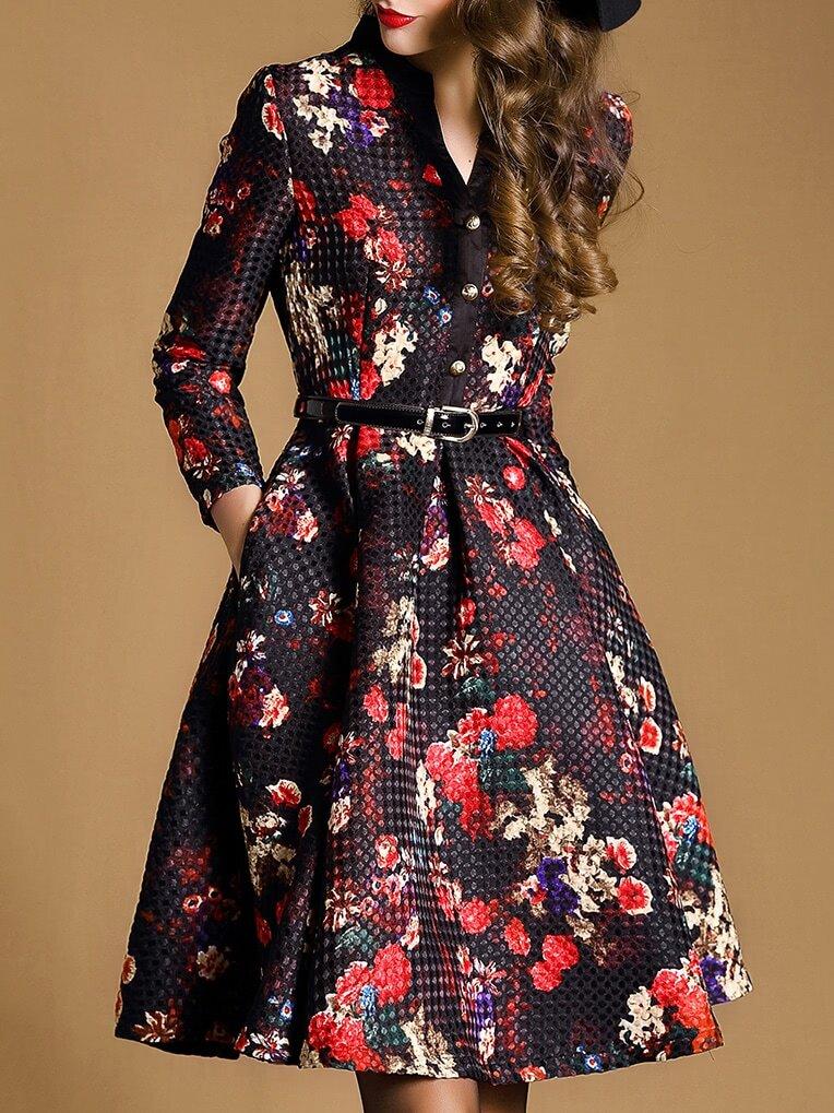Multicolor V Neck Length Sleeve Drawstring Pockets Jacquard Dress