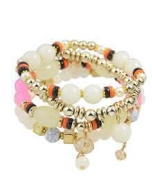 Multilayers Elastic Beige Beads Bracelet for Women