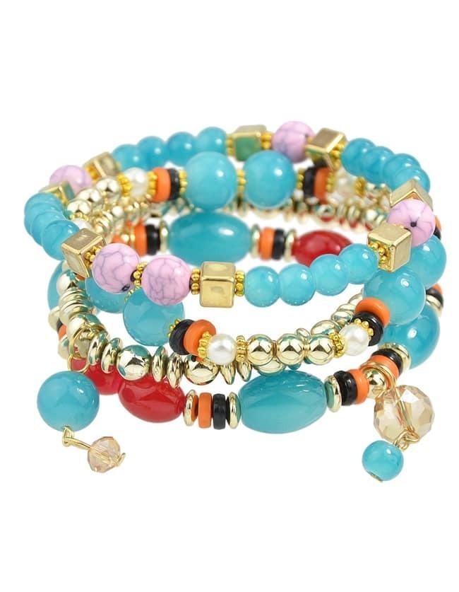 Multilayers Elastic Blue Beads Bracelet for Women
