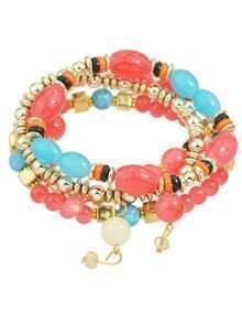 Multilayers Elastic Red Beads Bracelet for Women