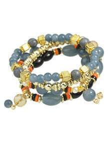 Multilayers Elastic Gray Beads Bracelet for Women