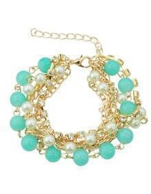 Multilayers Imitation Pearl Beads Charms Bracelet for Women