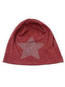 Red Cotton Star Beanie Hat
