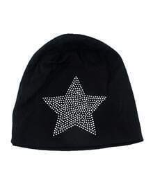 Black Cotton Star Beanie Hat