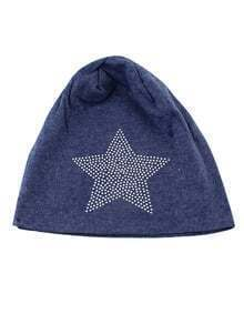 Blue Cotton Stretch Star Printed Women Beanie Hat