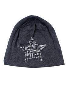 Gray Cotton Star Beanie Hat