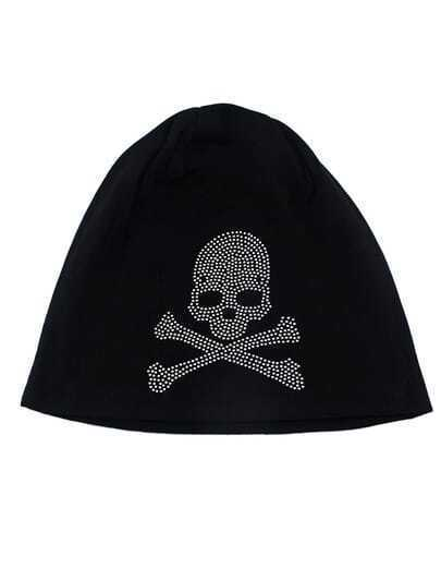 Black Cotton Skull Beanie Hat