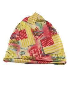 Yellow Cotton Printed Beanie Hat