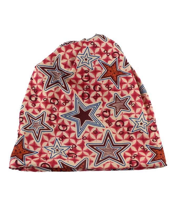 Hotpink Cotton Stretch Printed Women Beanie Hat